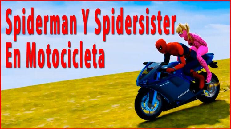 Spiderman Y Spidersister Montan En Motocicleta Y Saltan Con Paracaídas Hasta Aterrizar En Un Barco